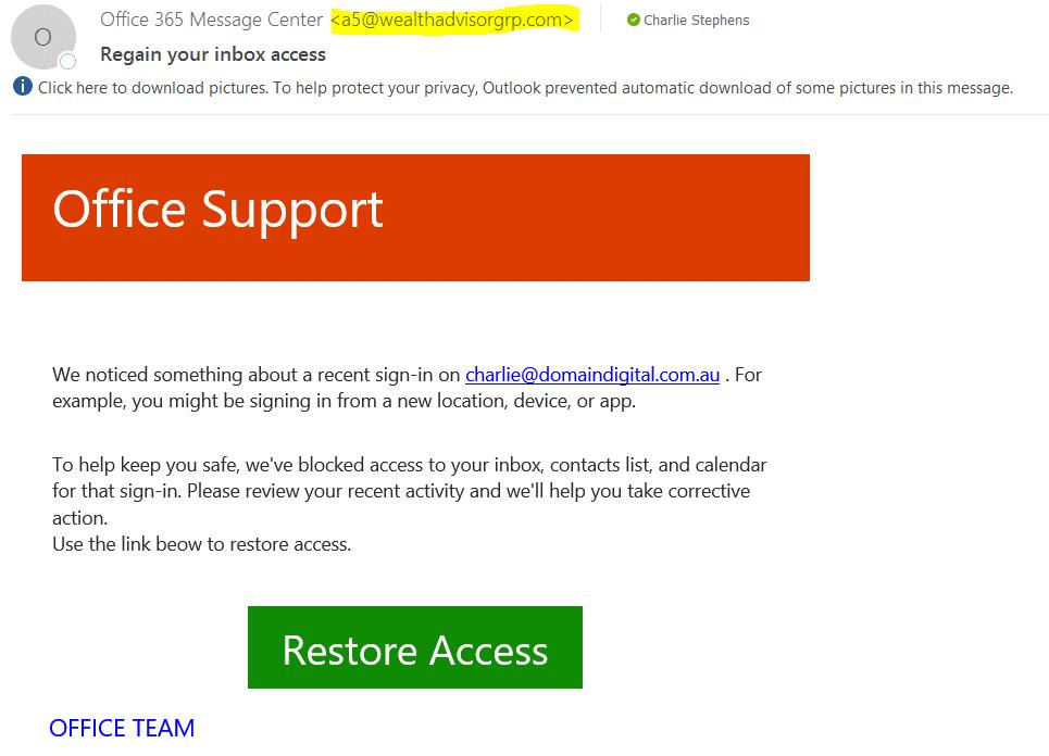 Scam for O365